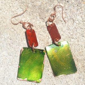 Green Red Geometric Pure Copper Handmade Earrings